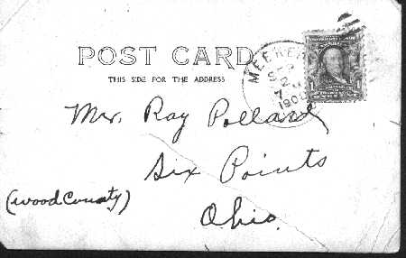 Reverse side of Post Card